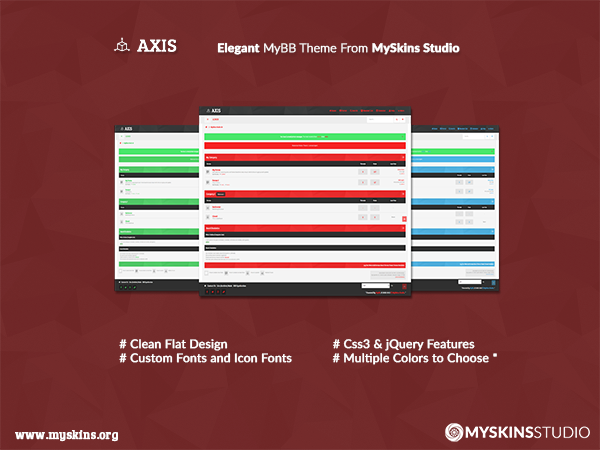 Axis - Elegant Free MyBB Multicolor Theme From MySkins Studio
